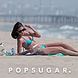 Desiree Hartsock sported shades while lying out.