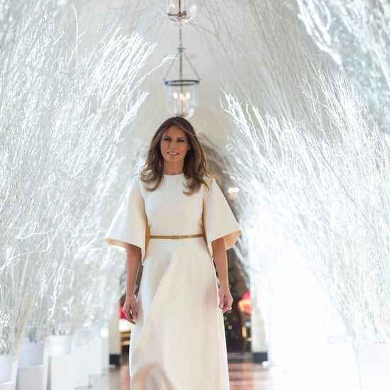 Melania Trump Wearing White Midi Dress