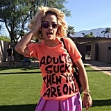 Singer Rita Ora hung out at Jeremy Scott's house, and for the occasion, she donned some of his brightest separates. Cheeky t-shirt included. Source: Instagram user itsjeremyscott