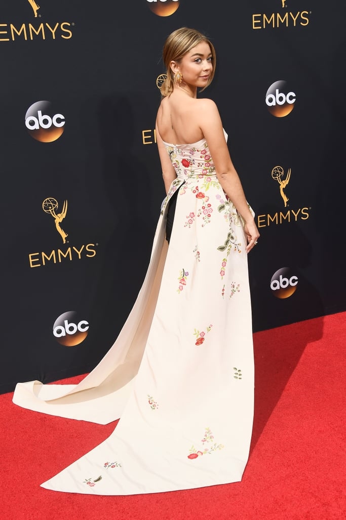 On the Emmys red carpet this year, Sarah Hyland reprised the look in Monique Lhuillier.