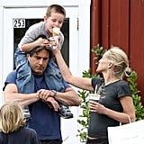 Sharon Stone indulged in ice cream with sons Laird and Quinn Stone in LA on Sunday.