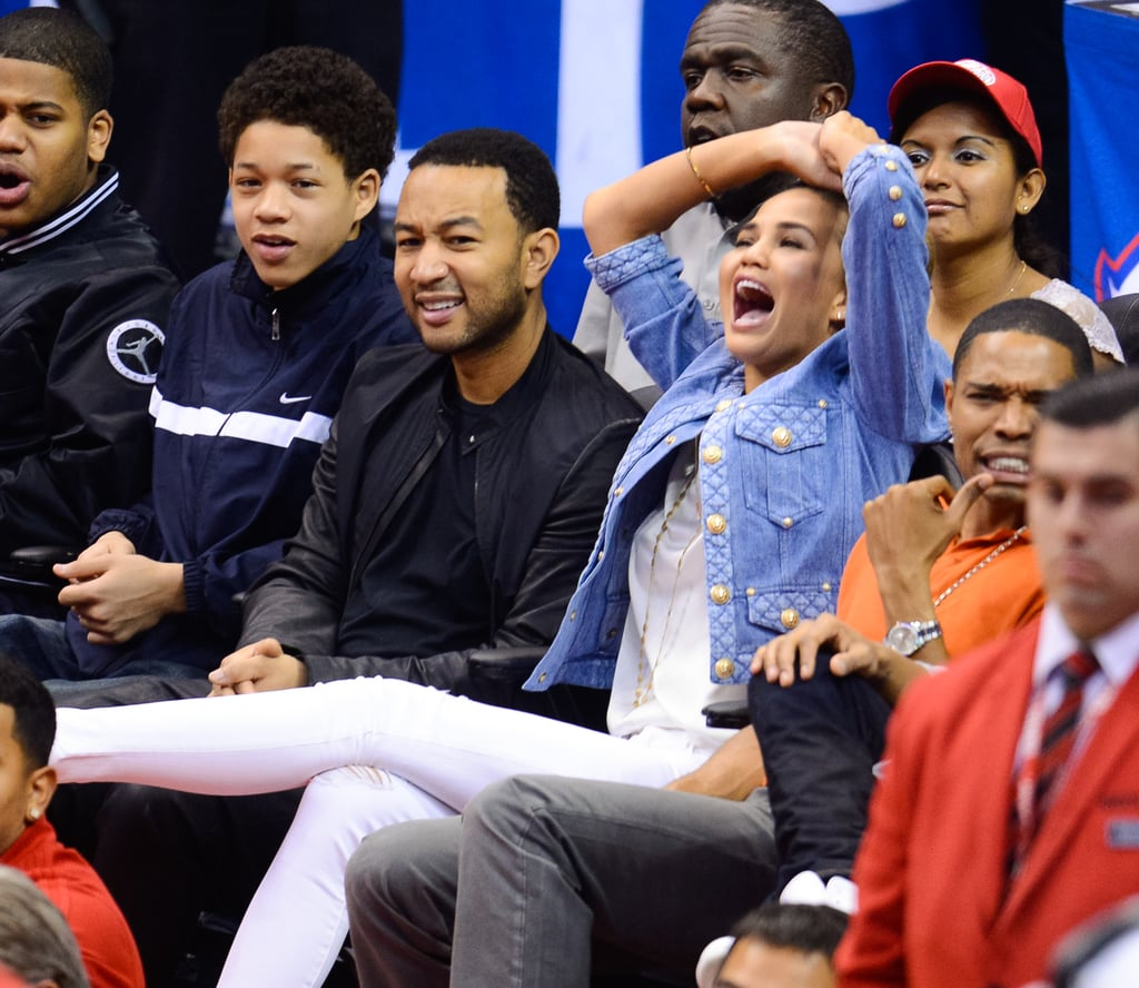 Chrissy Teigen was overcome with emotion while at an LA Clippers game with husband John Legend in April 2014.