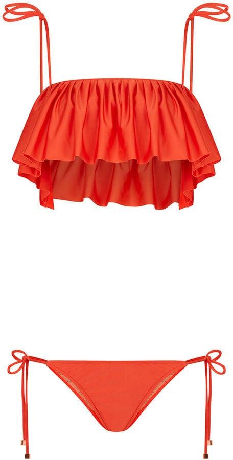 Adriana Degreas Coral Pleated Ruffle Overlay Bikini ($320)