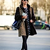 Style a Floral Dress With a Leopard-Print Coat