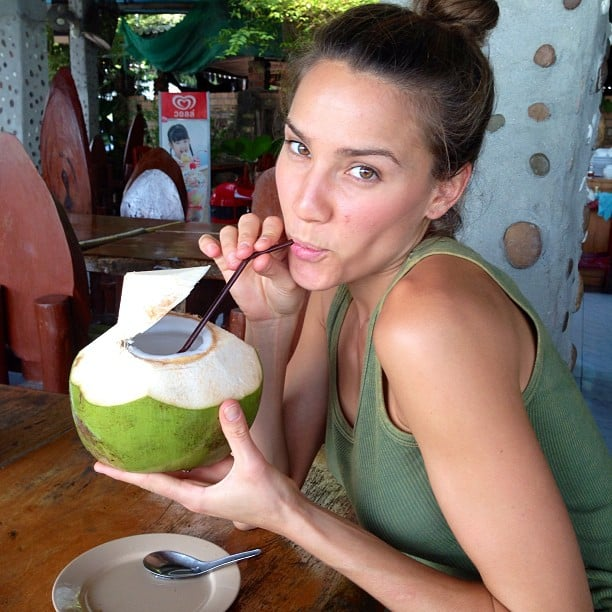Rachael Finch sipped on a coconut beverage. Source: Instagram user rachael_finch