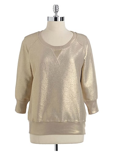 Pair French Connection's metallic sweatshirt ($96, originally $128) with black skinny jeans and Chelsea boots for a casual hangout at the cabin.