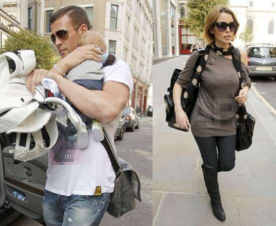 Pictures of Dannii Minogue With Kris Smith and Baby Ethan at M&S in UK Before Fragrance Launch and The X Factor Live Shows