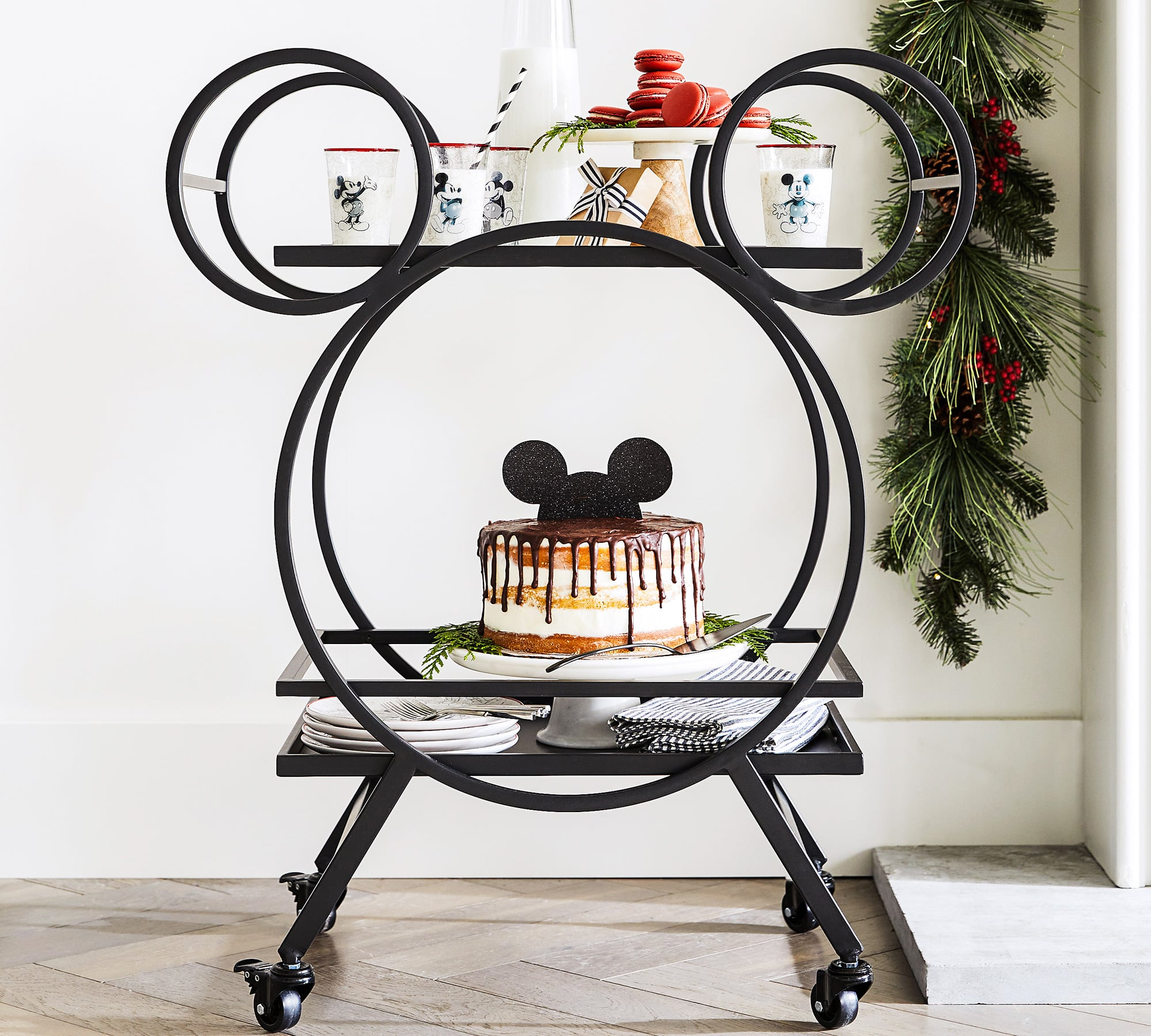 Shop Pottery Barn S Mickey Shaped Bar Cart Popsugar Home