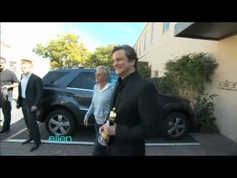 Best Actor Oscar Winner Colin Firth Surprises Ellen DeGeneres and Gives His Oscar Statue Mini Fancy Underwear
