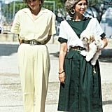 Queen Sofía in a Green and White Dress, August 1987
