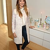 Jessica layered a Spring Peter Som coat over a silky blouse and skinny denim, then finished off with a pair of pastel lace-up sandals at the launch of her book, The Honest Life, in LA.