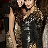 Good girlfriends Vanessa Hudgens and Selena Gomez posed in metallic dresses at the Weinstein party in Beverly Hills.