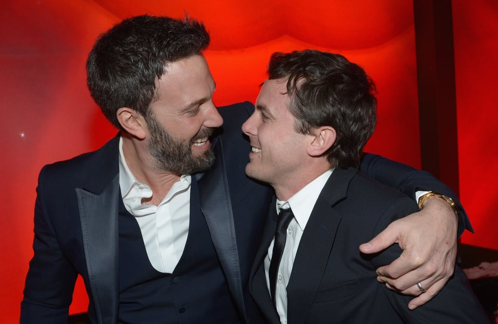 Casey Affleck has been garnering headlines and praise for his role in Manchester by the Sea and was even nominated for a best actor Oscar. He has already taken home a Critics' Choice award and Golden Globe for the powerful performance (unfortunately, the 41-year-old actor is also currently at the center of some pretty serious sexual assault allegations). It's likely that Casey has the support of his older brother, Ben Affleck, throughout his roller-coaster year. The pair stepped out together for a screening of Manchester by the Sea in November, and Ben was also in attendance at the Globes when Casey won his best actor in a drama award. Ben and Casey have shared many moments together in Hollywood, working together both in front of and behind the camera. Ben is certainly no stranger to award season glory, and they also both happen to be going through divorces after 10 years of marriage — Ben and Jennifer Garner famously split in 2015, while Casey and his wife, Summer Phoenix, announced their breakup in March 2016. Keep reading to see Ben and Casey's show of brotherly love over the years.      Related:                                                                                                           38 Times You Had the Hots For Ben Affleck