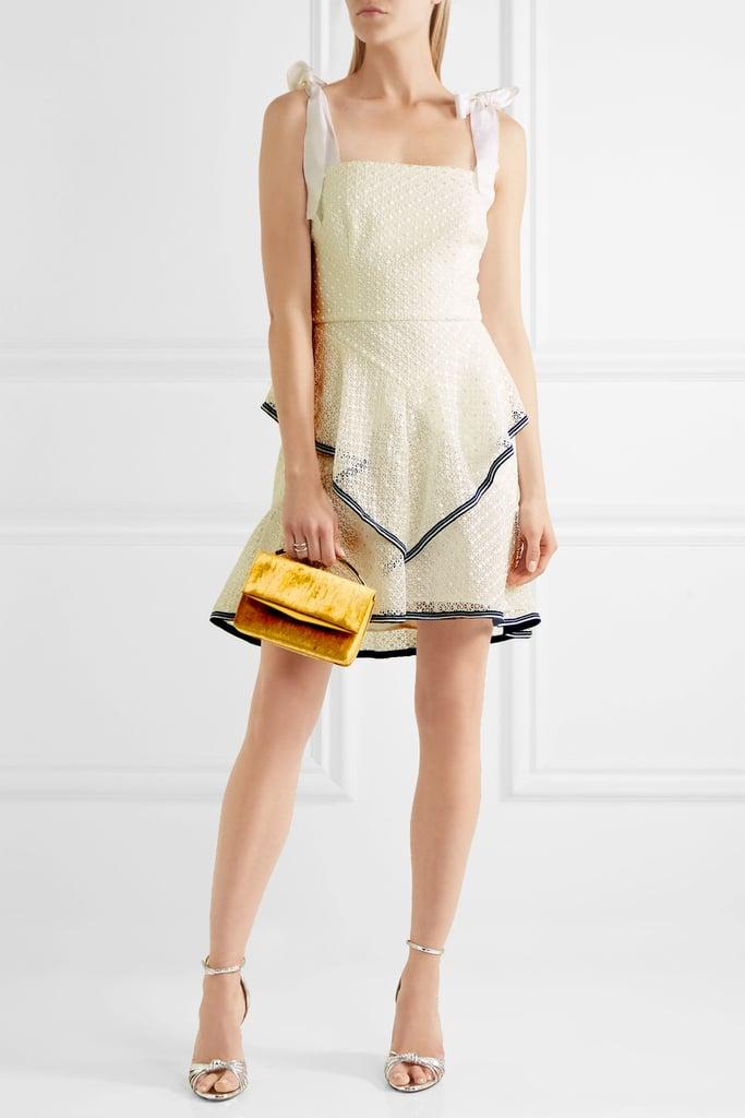 Rebecca Vallance Ruffled Lace Mini Dress