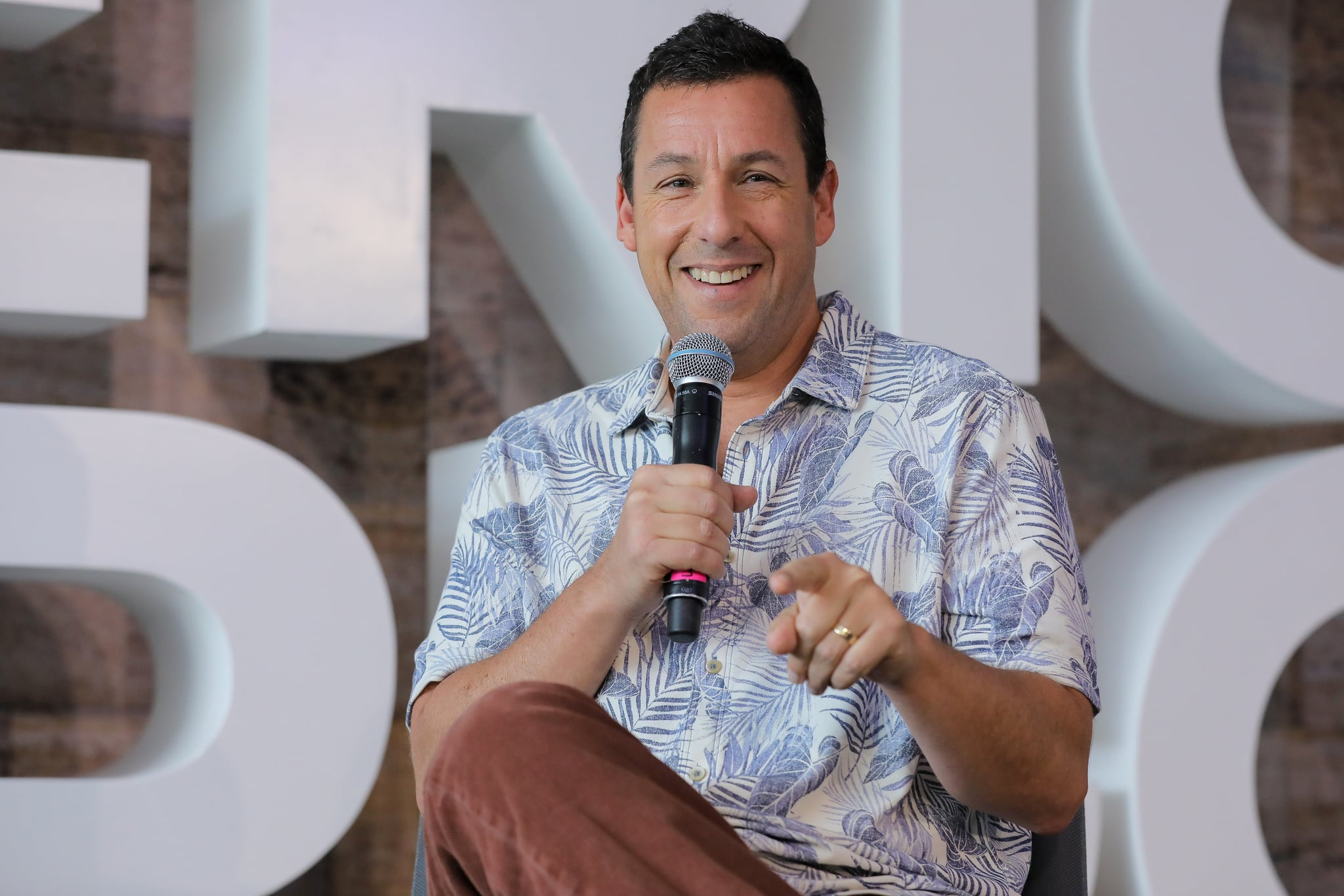 MEXICO CITY, MEXICO - JUNE 13: Adam Sandler speaks during the press conference of the new Netflix movie 'Murder Mystery' at St. Regis Hotel on June 13, 2019 in Mexico City, Mexico. (Photo by Hector Vivas/Getty Images for NETFLIX)