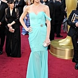 Missi Pyle wore a gorgeous turquoise eco-friendly silk gown made by cruelty-free silkworms and recycled zippers by Red Carpet Green Dress.