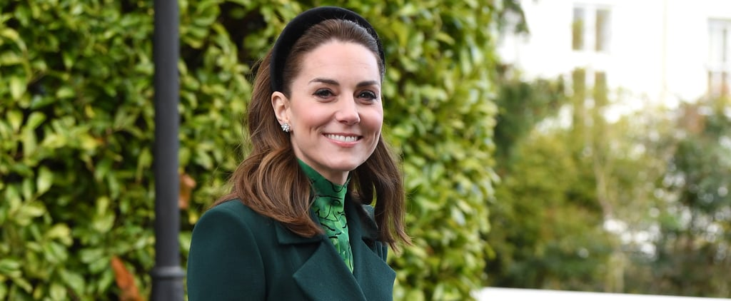 The Duchess of Cambridge a Wears Velvet Headband in Ireland