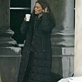 Natalie Portman took a break on set in London.