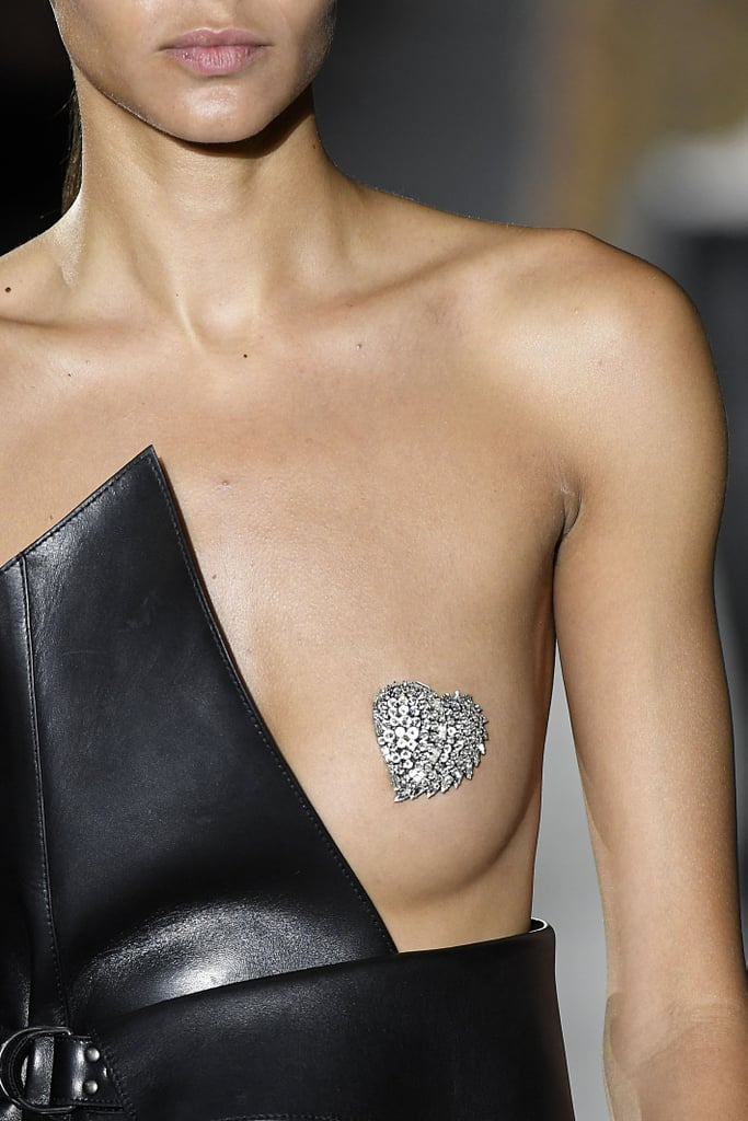 Glitter Nipple Saint Laurent Paris Fashion Week Spring