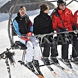 Pippa Middleton rode the chairlift to the top of the mountain with her father, Michael Middleton, in France.
