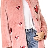 Alice + Olivia Madge Embroidered Faux Fur Coat