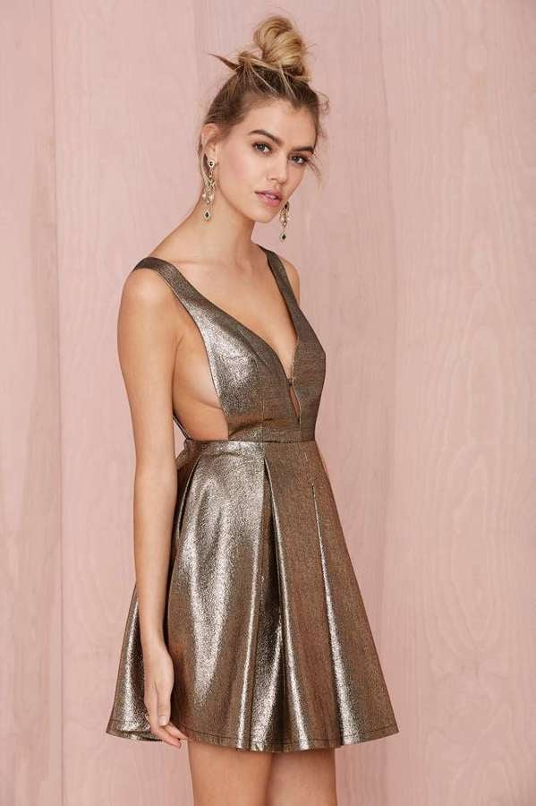 Nasty Gal Precious Metals Fit and Flare Dress