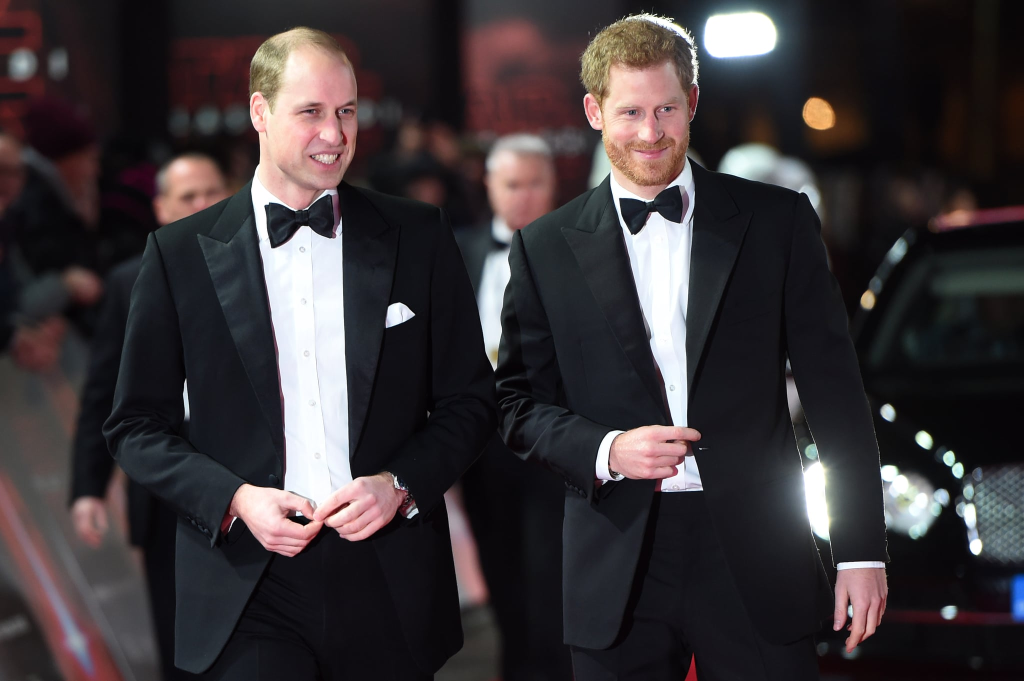 LONDON, ENGLAND - DECEMBER 12: (L-R) Prince William, Duke of Cambridge and Prince Harry attend the European Premiere of 'Star Wars: The Last Jedi' at Royal Albert Hall on December 12, 2017 in London, England.  (Photo by Eddie Mulholland - WPA Pool/Getty Images)