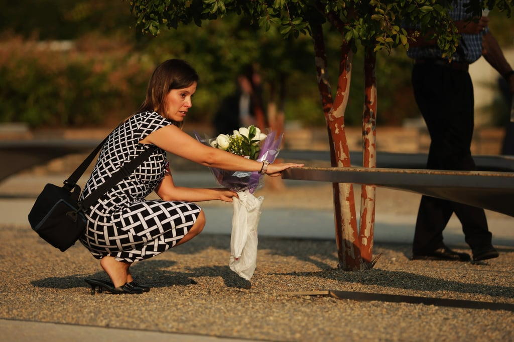 A woman left flowers at the memorial site at the Pentagon.