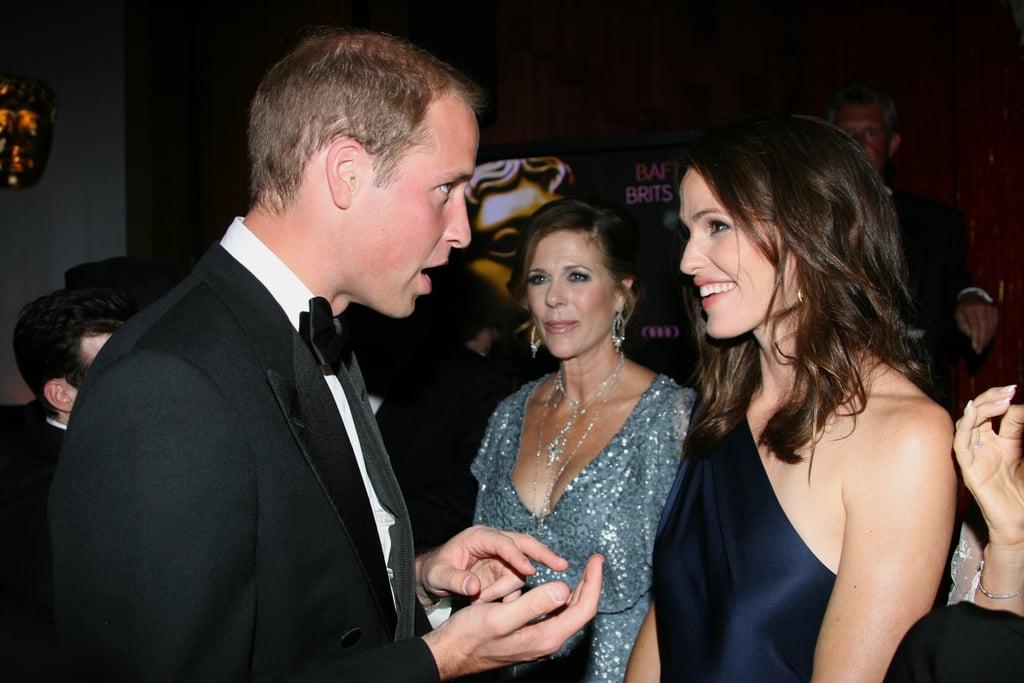 Prince William and Jennifer Garner at BAFTA Brits to Watch dinner.