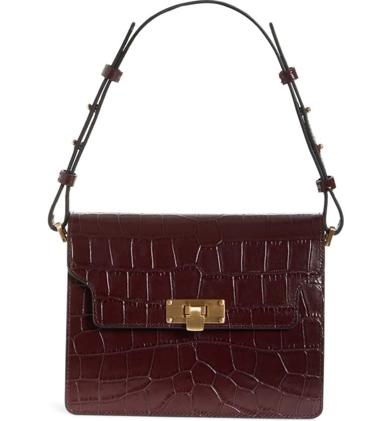 Vintage Brick Croc Embossed Leather Bag