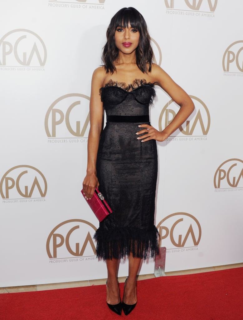 Kerry Washington showed off her sweet and sexy side in a black strapless Marchesa dress, which happened to come complete with a corseted sweetheart neckline covered in velvet and lace. Pointy-toe pumps and a pink clutch accented the look.