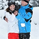 They shared playful PDA in the form of a snowball fight during their family ski vacation in the French Alps in March 2016.