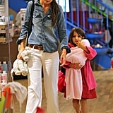 Katie Holmes and daughter Suri Cruise perused the aisles of NY craft store, Make Meaning, on August 20.