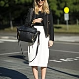 A moto-style jacket gave this creamy pencil skirt a cooler contrast. Source: Le 21ème | Adam Katz Sinding