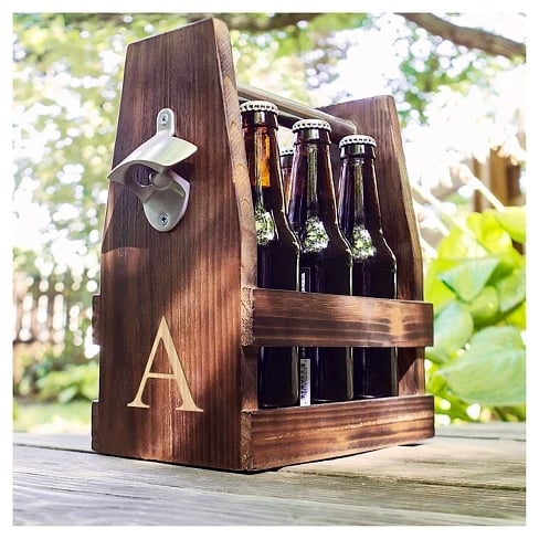 Cathy's Concepts Rustic Craft Beer Carrier with Bottle Opener