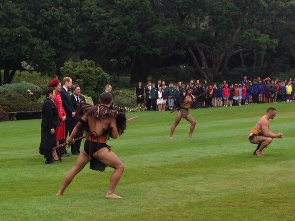 Kate and William watched Maori warriors do a performance. Source: Twitter user byEmilyAndrews