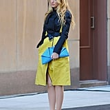 Serena van der Woodsen Wearing a Blue Jacket With a Pop of Color