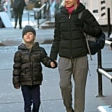 Naomi Watts walked her son Alexander through the streets of NYC to school on Monday.