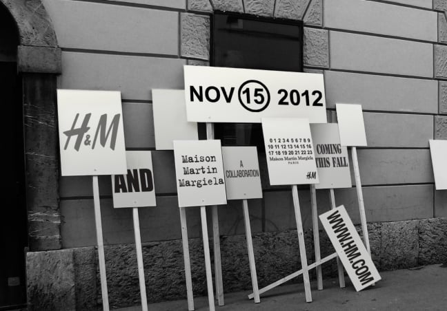 Announcement signage for the Maison Martin Margiela for H&M collection.