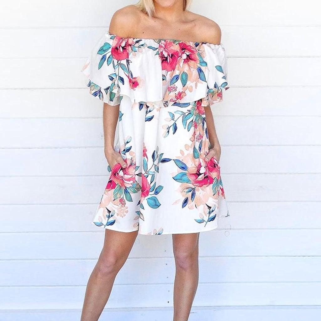 Sunward Off-Shoulder Floral Dress