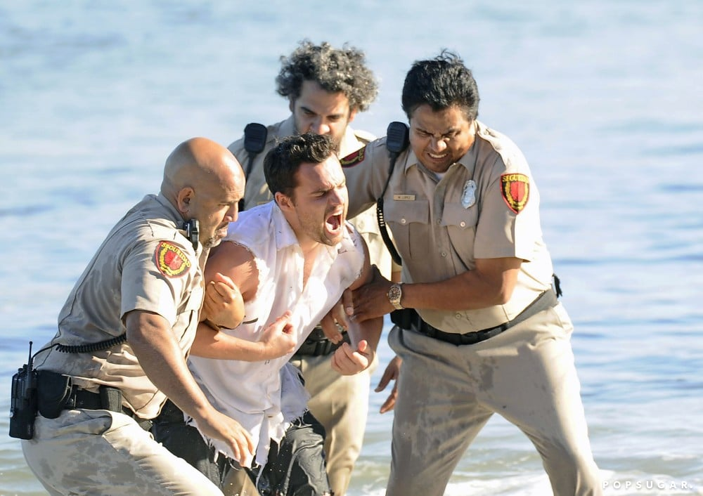 Jake Johnson filmed what looked like a dramatic scene for New Girl at an LA beach on Thursday.