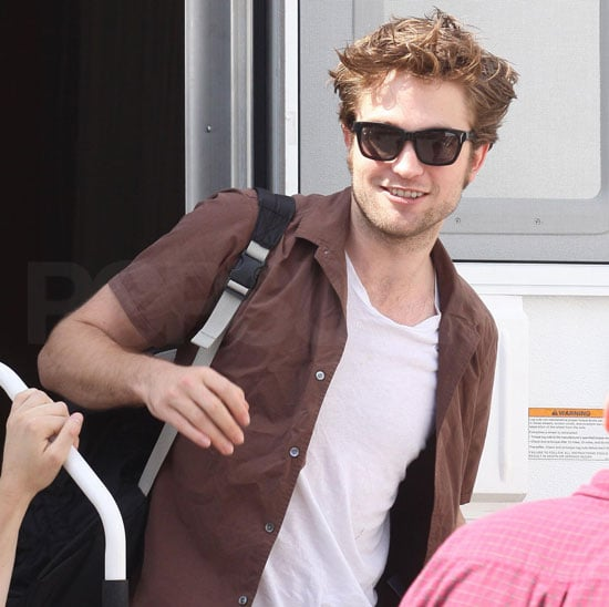 Slide Photo of Robert Pattinson Wearing a Brown Shirt On the Set of Remember Me in New York