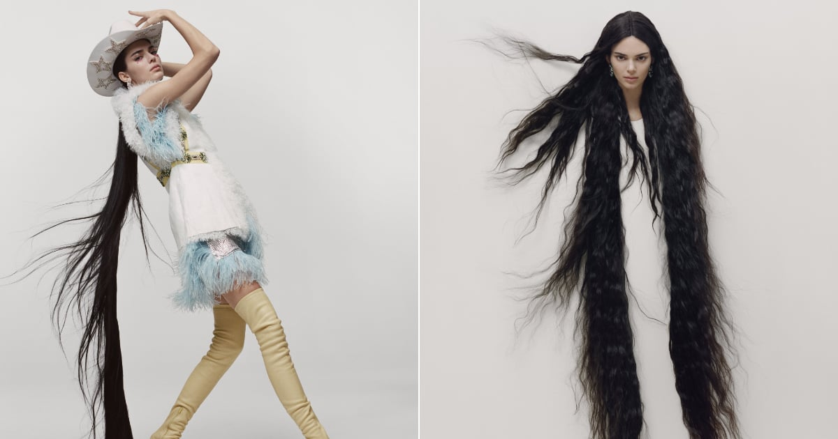 Kendall Jenner modeled floor-length hair extensions in the latest issue of