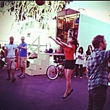 Zooey Deschanel played a little basketball between takes on the set of New Girl. Source: Instagram user zooeydeschanel