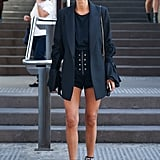 Short Shorts Look Chic When Paired With a Longer Blazer