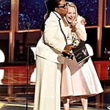Oprah Winfrey and Elisabeth Moss at the 2017 Emmy Awards