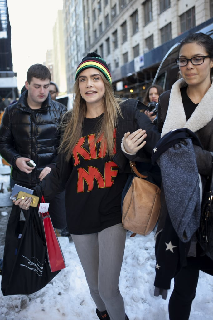 Cara Delevingne traded her catwalk look for a cool-girl t-shirt and beanie for another ode to the '90s.