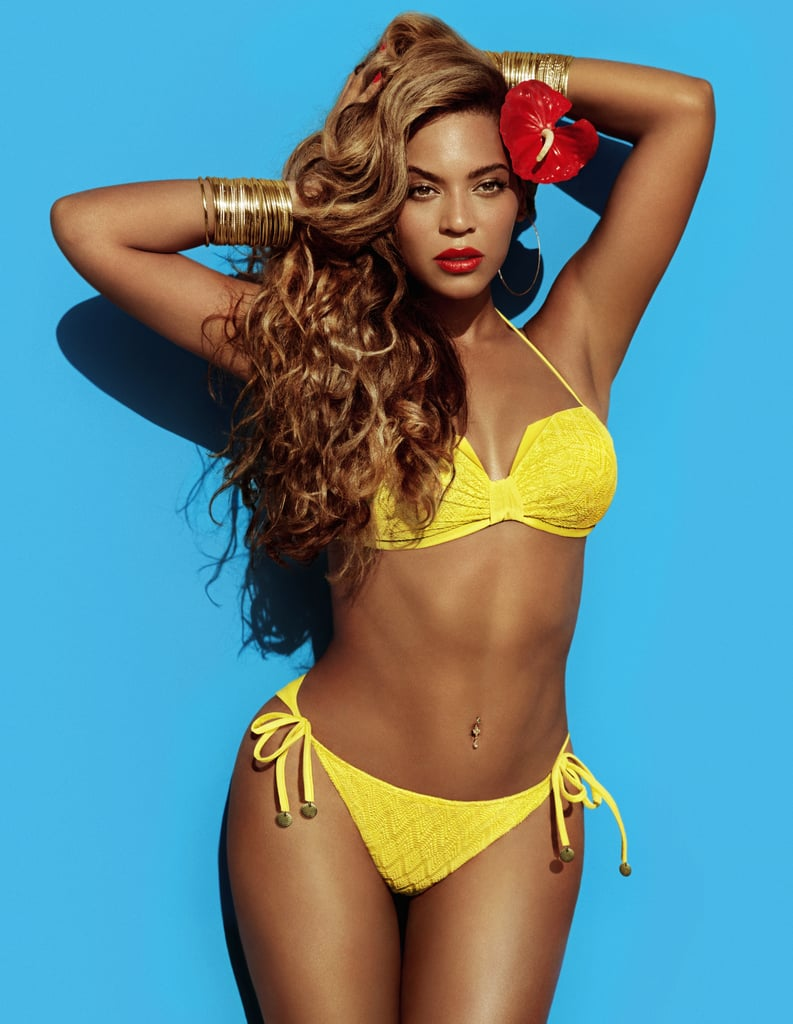 Beyoncé posed in a bright yellow microtextured bikini, but to punch it up further, she wore stacked gold bangles on each wrist.