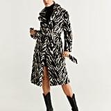 Shop Selena's Mango Zebra Belted Faux Fur Coat