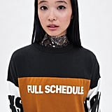 Zara Block Color Text Print Sweatshirt